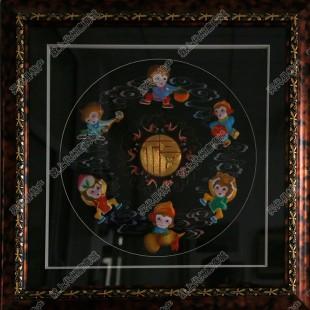 纯手工刺绣工艺品中国特色礼品—混世六猴